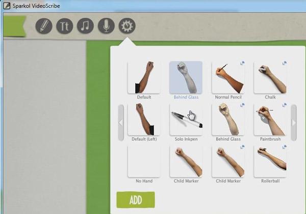 Выбор руки или ручки для отображения процесса рисования