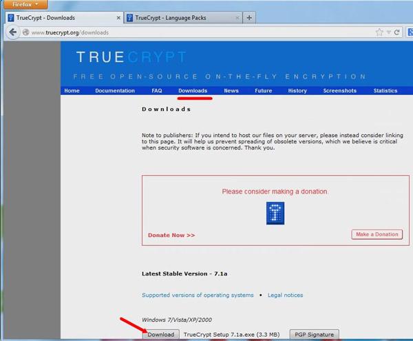 Страница загрузки программы TrueCript