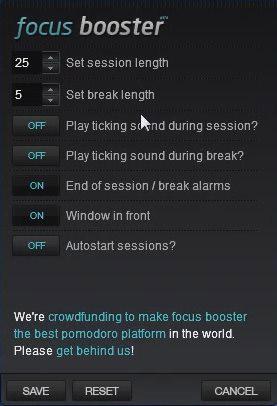 Настройки Focus Booster
