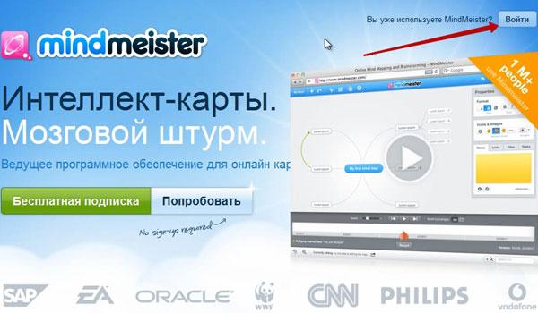 Начало регистрации в Mindmeister